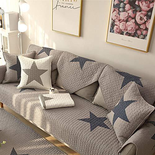 YUTJK Toalla Antideslizante de Franela,Cojín de Sofá Universal de Cuatro Estaciones,Cojín de Protección de Sofá,Cubierta de sofá de algodón de Dormitorio de impresión Estrella-Gris_70×70cm