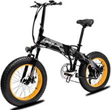 Cyrusher X2000 Folding Electric Bike 20 x 4.0'' Fat Tire Snow Ebike 500W 7 Speed Bike Pedal Mountain Bicycle Motor Bike Throttle&Assist Mode with Suspension Fork and 48V 10AH Panasonic Lithium Battery