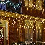 MOVEONSTEP Rideau Lumineux Guirlande Lumineuse Extérieur Stalactite 400 LED Decoration Noël Mariage Jardin Maison Fenêtre Patio (Blanche Chaude)
