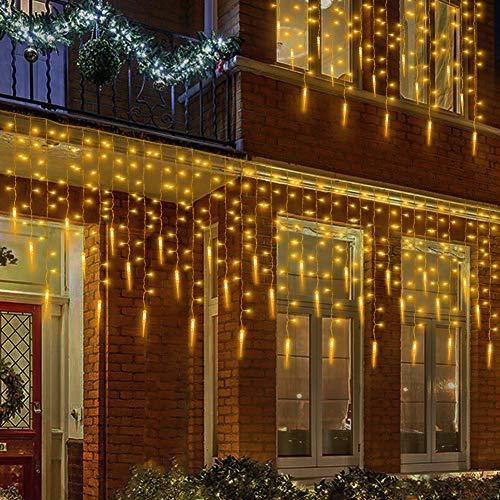 MOVEONSTEP 400 LED Lichterkette Eiszapfen Licht Lichtervorhang mit 8 Leuchtmodi für Weihnachtsbaum, Party, Garten, Hochzeit Veranstaltungen-Warmes Weiß[Energieklasse A+++]