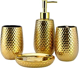 4-Piece Ceramic Bathroom Accessories Set, Moroccan Trellis Bathroom Ensemble Complete Sets for Bath Decor Includes Soap Dispenser Pump, Toothbrush Holder, Tumbler, Soap Dish, Ideas Home Gift (Gold)