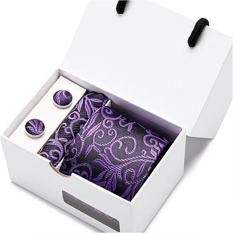 Wedding Men Neck Ties Gift Box Packing Brand Luxury Necktie Pocket Square Silk Tie Set Cufflinks Handkerchief