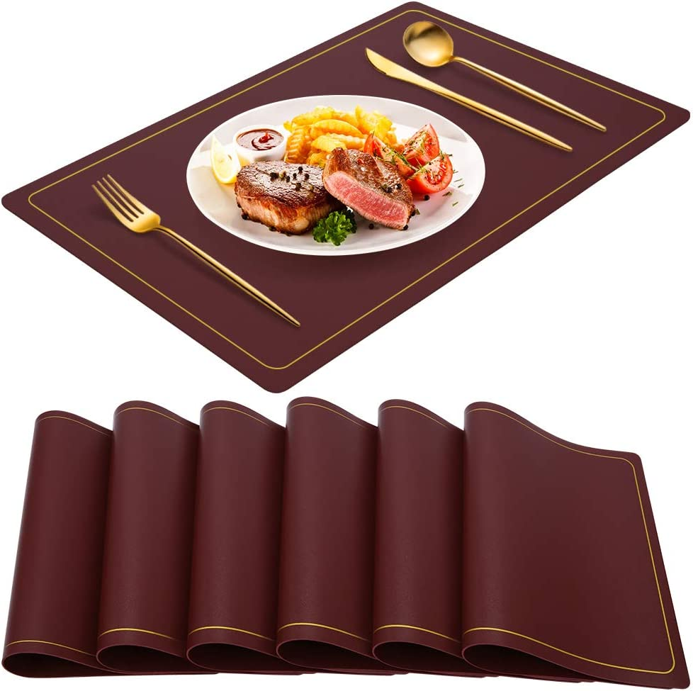 WEHVKEI Wine Red Placemats for Dining Table Set of 6, Waterproof Wipeable PU Leather Place Mats Indoor, Washable Kitchen Table Mats for Easter Thanksgiving Christmas New Year Party Home Decor