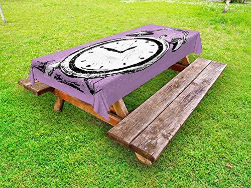ABAKUHAUS Hipster Tafelkleed voor Buitengebruik, Retro Wekker Grunge, Decoratief Wasbaar Tafelkleed voor Picknicktafel, 58 x 120 cm, Paars Wit Zwart