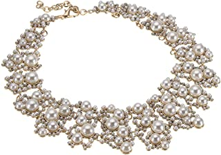 Jerollin Crystal Rhinestone/Pearl Statement Chain Necklace, Vintage Choker Bib Pendant Necklace Bohemian Bling Tassel Collar Statement Necklace for Evening Party