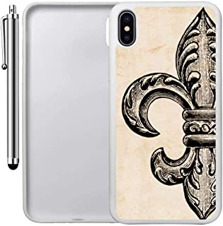 Custom Case Compatible with iPhone Xs MAX (6.5 inch) (Vintage Fleur De Lis) Edge-to-Edge Rubber White Cover Ultra Slim | Lightweight | Includes Stylus Pen by Innosub