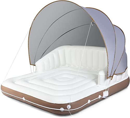 2021 Giantex Canopy Island Inflatable Lounge, online Floating Island Raft w/ High Backrest Armrest, 2 Cup Holders & Retractable discount Canopy, Giant Inflatable Pool Float for Pool, Lake, River, OC online sale