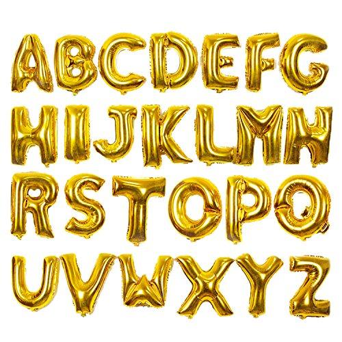lala Pink 26 Ballon Buchstaben in Gold, 16 Zoll Aluminiumfolie Ballons für Jubiläum Geburtstag Weihnachten Hochzeit Silvester Bankett Dekoration