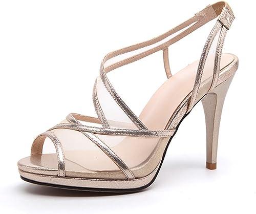 JIANXIN Chaussures De Bouche Bouche De Poisson Sandales Femme Cuir D'été Chaussures Creuses à Talons Hauts Chaussures à Plateforme Talon Aiguille (Couleur   Or, Taille   EU 36 US 5.5 UK 3.5 JP 23cm)  Réponses rapides