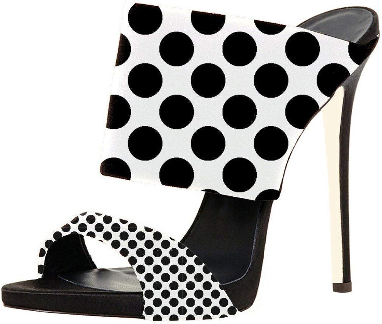 FSJ Women Versatile Open Toe Mule shoes Feminine Slingback Stiletto Sandals Size 9 Dots