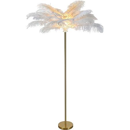 EIU Lampadaire LED, Lampe sur Pied De Décoration Moderne en Plumes, Lampe De Lecture Standard Haute Lumière pour Chambre Et Salon(Color:Blanc)