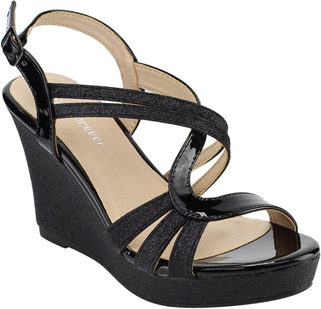 Max 47% OFF latest Forever FQ22 Women's Glitter Strappy Platform Wrapped Heel Wedge