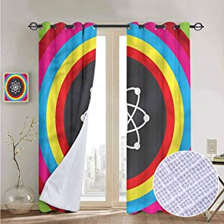NUOMANAN Window Curtain Fabric Science,Atom Model Colorful Circle,Rod Pocket Curtain Panels for Bedroom & Living Room 120
