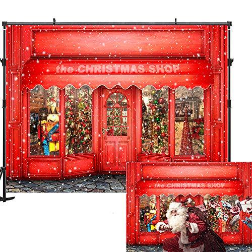 7x5ft Red Window Christmas Backdrop Christmas House Christmas Backdrops for Photography Star Street Shooting Christmas Backdrops for Photographers