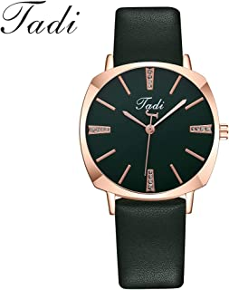 Fashion Simple Leather Strap Women'S Watch Green Jewelry Watches,Women'S Watch,Sleek Minimalist Calendar Leather Mesh Belt Woman Quartz Watch New