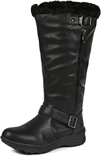 DREAM PAIRS Women's Winter Fully Fur Lined Zipper Closure Snow Knee High Boots (Wide-Calf)
