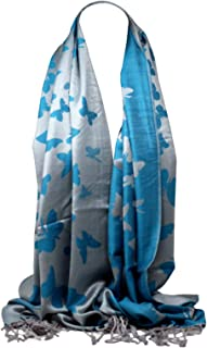 Bullahshah Pashmina Feel Lively Butterfly Design Scarf Wrap Shawl Stole Head Scarves for Women/Girls