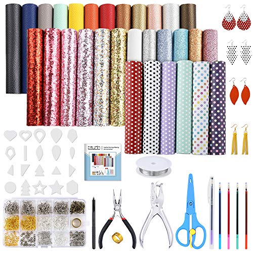 Caydo 30 Pieces Leather Earring Making Kit Include Instructions, 5 Style Faux Leather Sheet, Templates and Complete Tools for Earrings Making Supplies, 6.3 '' x 8.3 ''