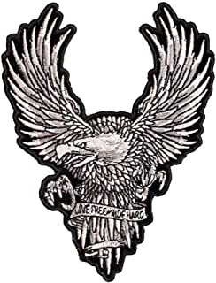 Live Free Ride Hard White Subdued Eagle Patch, Small Size
