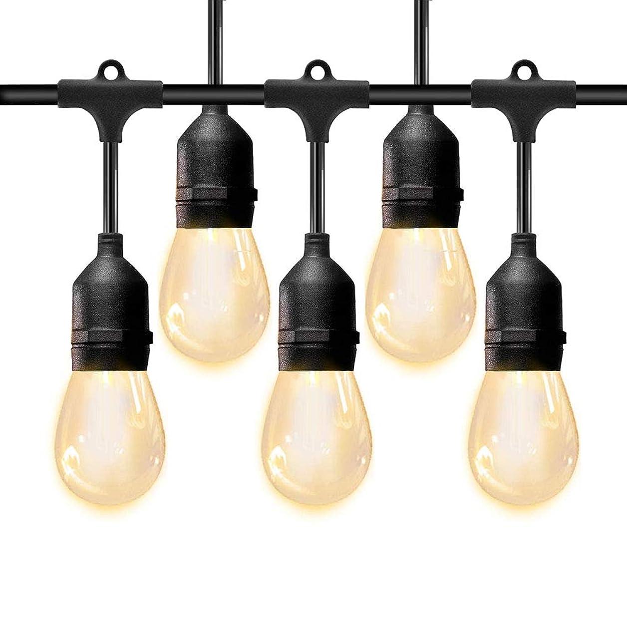 蒸発光電保有者BRTLX ストリングライト 防雨型 15m 15個ソケット 18個フィラメント電球付き イルミネーションライト クリスマス ハロウィン 飾り 連結可能 誕生日パーティー電飾
