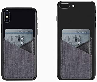 MB-LANHUA Slim Canvas Phone Back Card Holder Mobile Phone Wallet Credit ID Card Holder Adhesive Pocket Sticker Black