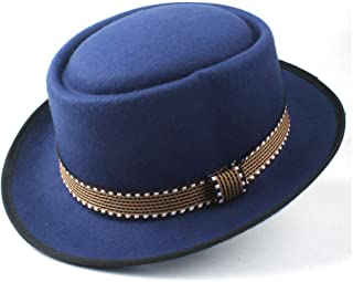 XinQuan Wang Men Women New Pork Pie Hat With Belt Panama Jazz Hat Fedora Hat Vintage Flat Hat Size 58CM