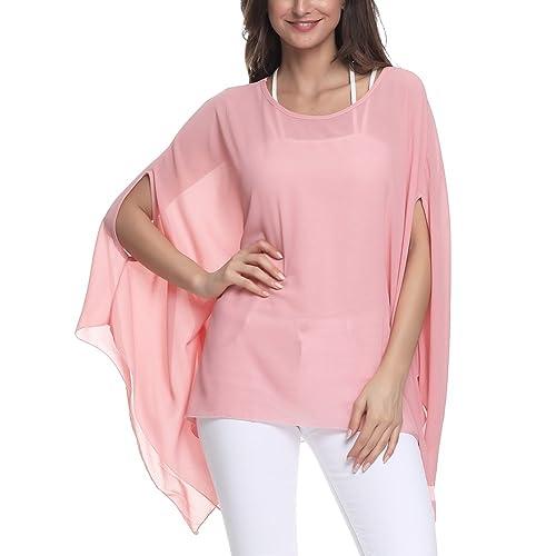 586a629e9e8450 Wiwish Women's Baggy Solid Sheer Chiffon Caftan Poncho Plus Size Batwing  Tunic Top Blouse