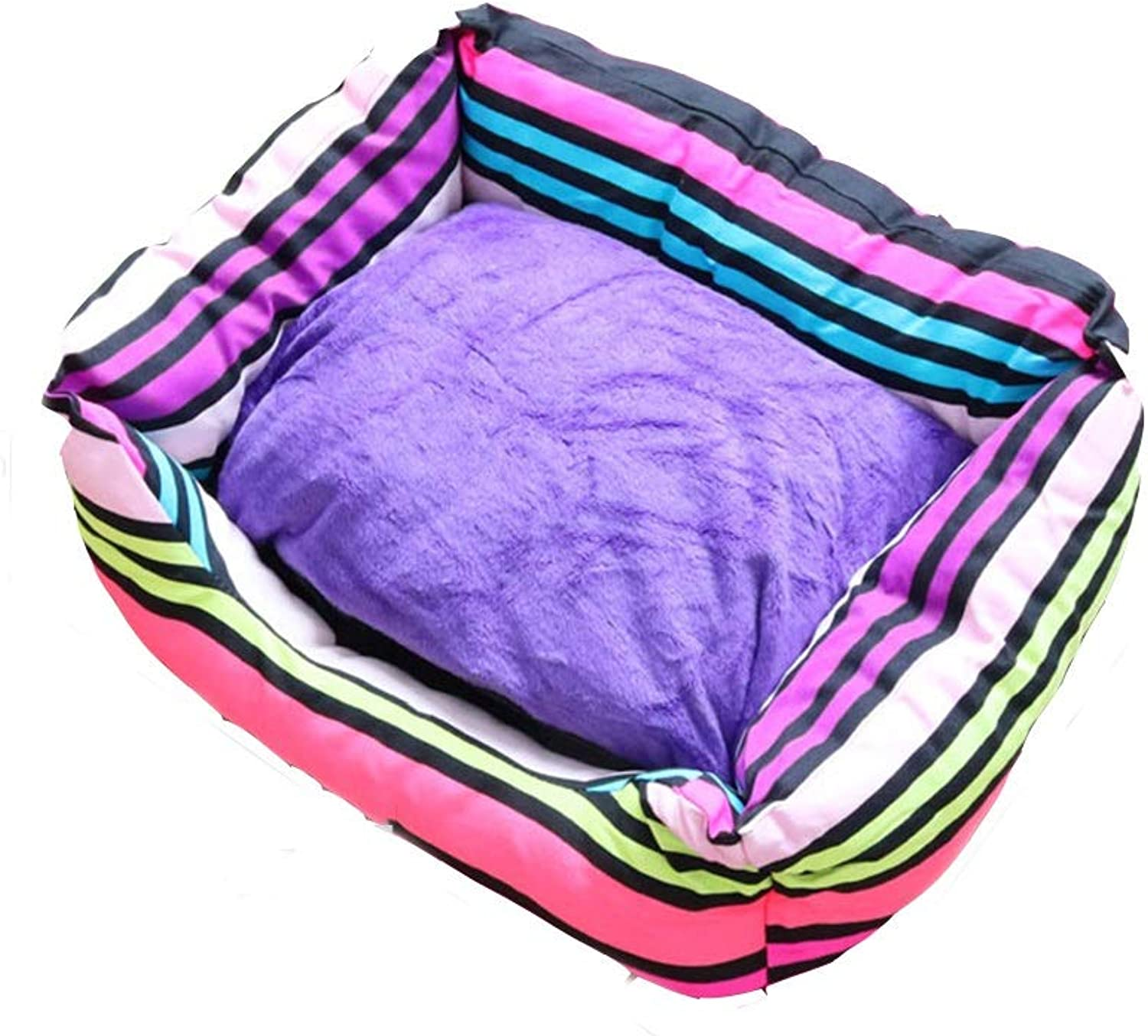 Dog Bed, Striped color Bed, Simple nest (Rainbow, 57x49x16cm, Small) (Size   57x49x16cm)