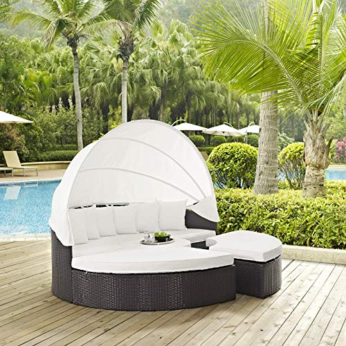 Modway Quest Circular Outdoor Wicker Rattan Patio Daybed with Canopy in Espresso White