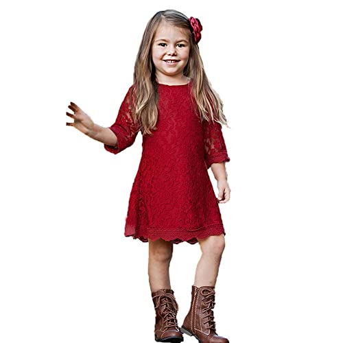 42a3e4997e033 APRIL GIRL Flower Girl Dress, Lace Dress 3/4 Sleeve Dress