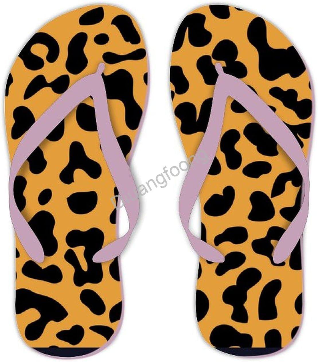Leopard Flip Flops Comfort Summer Thong Sandal Eva Sandal For House Bathroom Party Pink Style7
