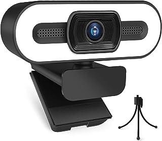 ウェブカメラ Webカメラ フルHD 1080P 500万画素 オートフォーカス 広角レンズ マイク内蔵 3色 LEDライト付き 自動光補正 美顔機能 三脚付き 360°角度調整 USBカメラ プラグアンドプレイ 小型 宅会議用 テレワーク オ...