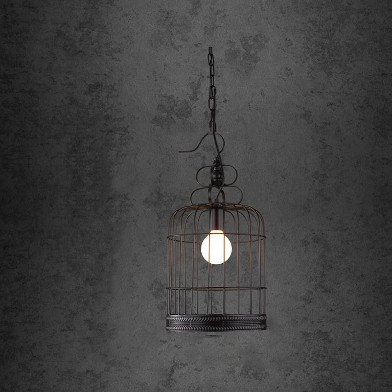 Chandelier .H HCJ Loft Retro Eisen Kfig Kronleuchter Gang Treppen Balkon Kreative Lampen Restaurant Bar Tisch Einzel E27, 25  55CM Hell (Farbe    1)