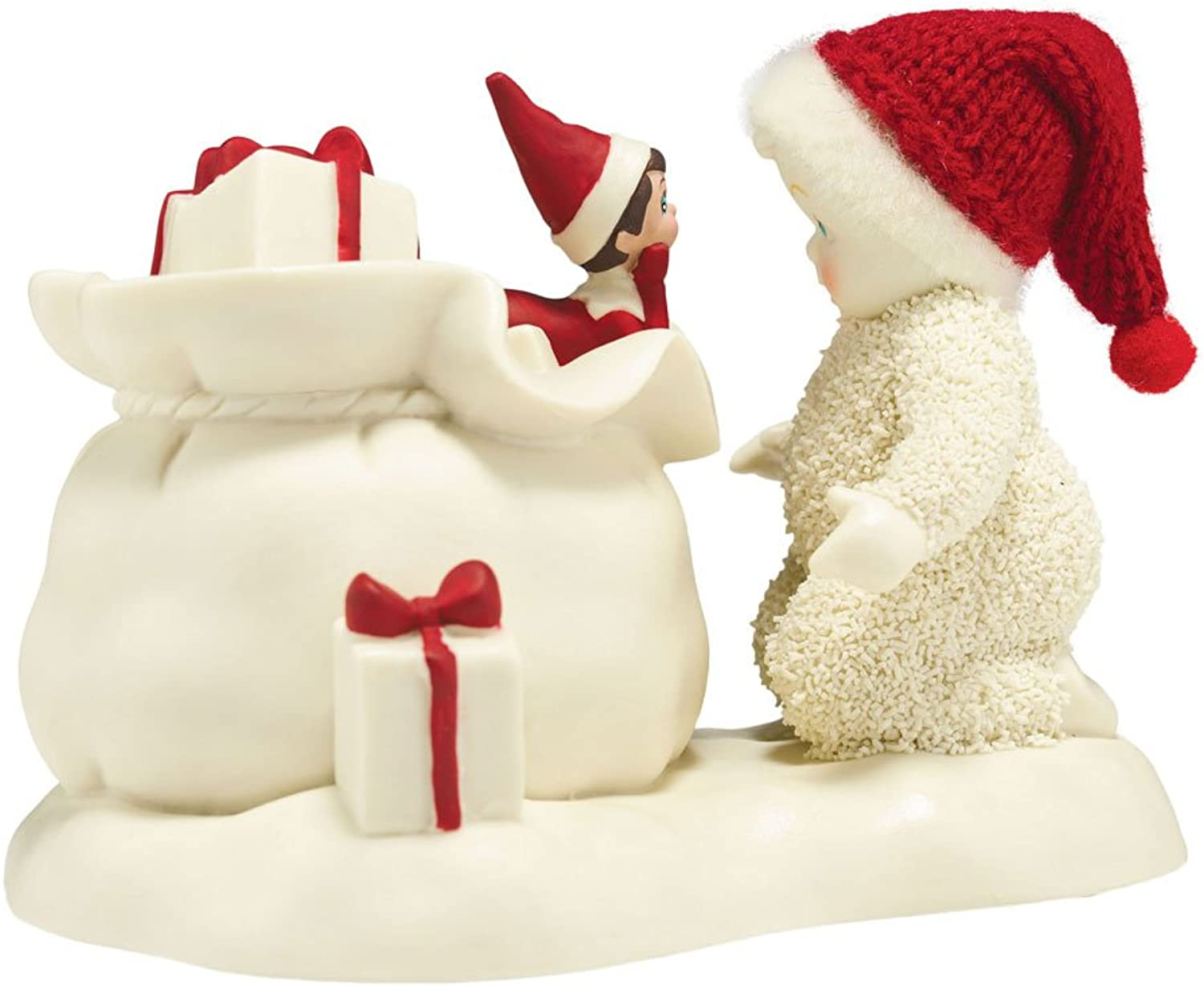 "Department 56 Snowbabies ""Elf On The Shelf Helps Santa"" Porcelain Figurine, 3.6"""