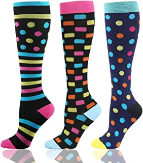 HLTPRO, Calcetines de compresión HLTPRO para mujeres y hombres – 3 pares de calcetines hasta la rodilla para vuelo, viajes, enfermeras, embarazo, edema