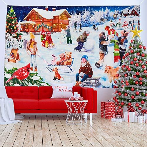 Decoración de Banner de Navidad Grande, Setter de Escena Navideña de Tela, Pueblo de Nieve de Invierno, 185x110cm| Colores Vibrantes, Resistente| Telón de Fondo de Navidad para Fiesta Hogar Oficina.