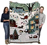 Cape Cod Christmas - Charles Wysocki - Cotton Woven Blanket Throw - Made in The USA (72x54)