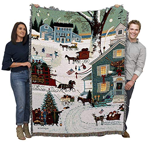 Pure Country Weavers Cape Cod Christmas Charles Wysocki Blanket Throw Woven from Cotton - Made in The USA (72x54)
