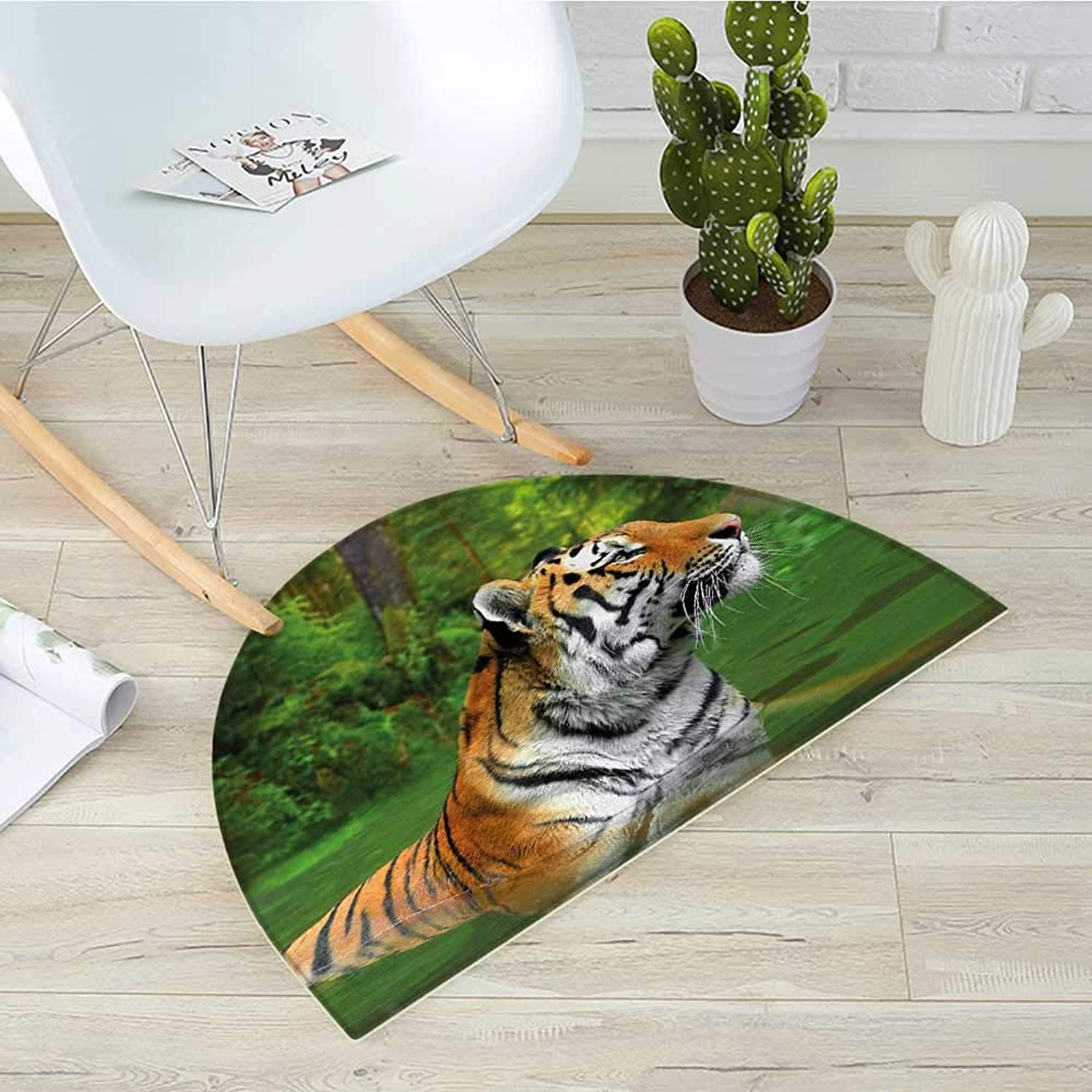Tiger Semicircular CushionBlack Striped Large Cat from Siberia Swimming in The Lake in The Forest Entry Door Mat H 31.5  xD 47.2  Fern Green Pale Brown