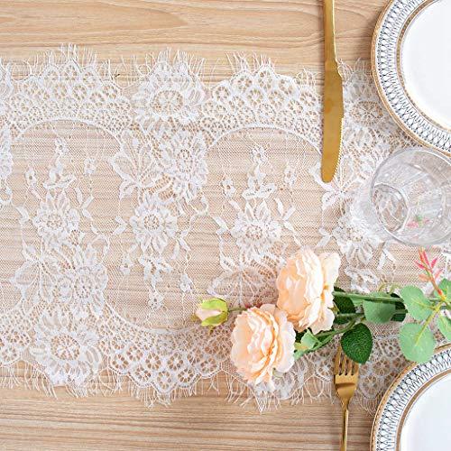 Camino de mesa de encaje blanco de ShinyBeauty de 30 x 300 cm para bodas, decoración de fiestas, flores, camino de mesa bordado, tela de encaje blanco, para mesas, decoración de Navidad de marfil