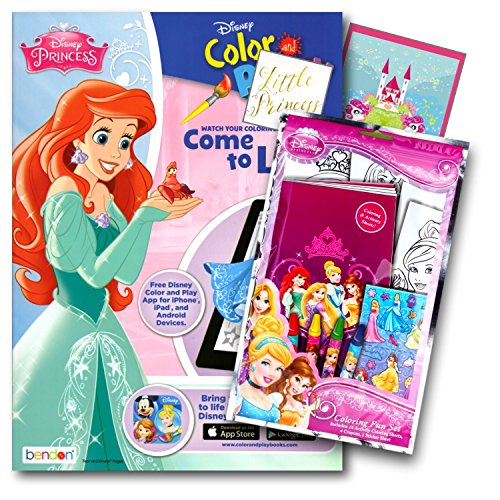 Disney Princess Coloring Book Pack with Stickers, Crayons and Coloring Activity Book Bundled with 2 Separately Licensed GWW Specialty Reward Stickers