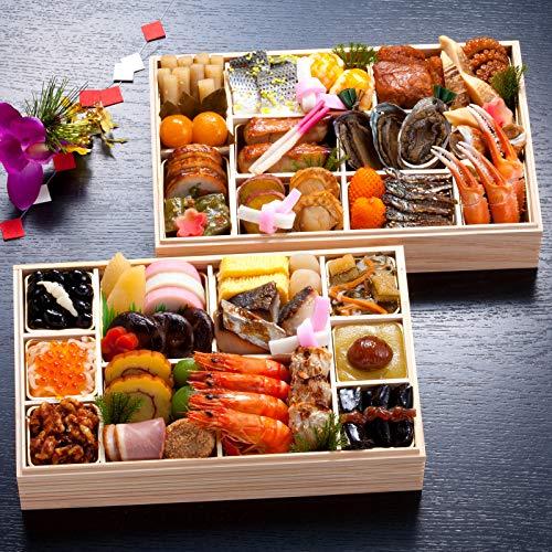 京都 しょうざん 冷蔵おせち料理 2021 二段重 天ヶ峰 45品 盛り付け済み 冷蔵おせち 3人前 お届け日:12月31日