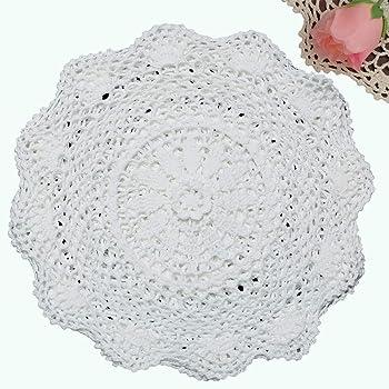 "Creative Linens 6PCS 12"" Round Crochet Lace Doily White 100% Cotton Handmade, Set of 6 Pieces"