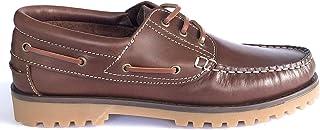 Zapatos Nauticos Sport Casual Hombre de Piel. Piso de Goma. Cierre Cordones con Tres Ojales. Marron, Marino y Negro