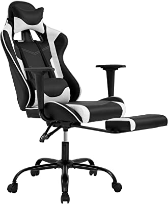 PC Gaming Chair Ergonomic Office Chair Desk Chair PU Leather Racing Executive Modern Swivel Rolling High Back Computer Chair with Arms Footrest Lumbar Support for Women Men Adults Girls