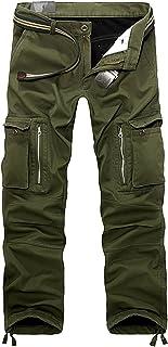 AOYOG Thicken Mens Winter Fleece Lined Cargo Pant Windproof Work Pants
