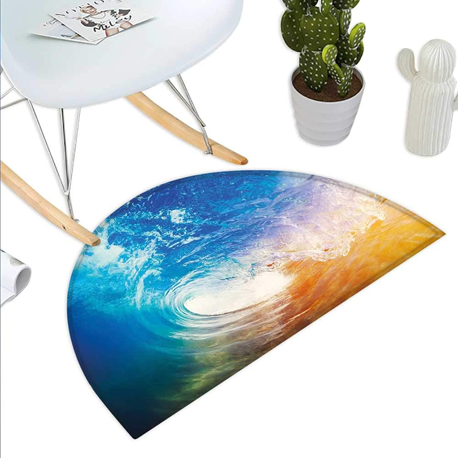 Wave Semicircle Doormat Huge Vibrant Ocean Wave Crashing at Sunrise Water Splash Summer Surfing Theme Halfmoon doormats H 39.3  xD 59  bluee orange White