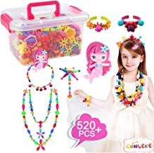 Conleke Pop Snap Beads Set 520 PCS for Kids Toddlers Creative DIY Jewelry Toys - Making Necklace,Bracelet and Ring - Ideal Christmas Birthday Gifts for 4,5,6,7,8 Year Old Girls (Box Packaging)