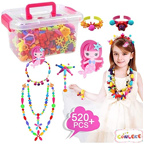 Conleke Pop Snap Beads Set 520 PCS For Kids Toddlers Creative DIY Jewelry Toys