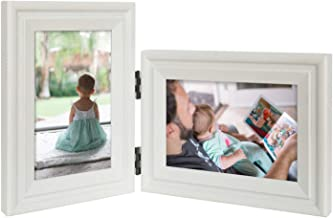 JD Concept Vertical Horizontal Combo, Double 4x6 White Wood Hinged Picture Frame, Desk-top or Wall Mounted, Portrait and Landscape View